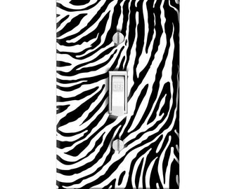 Home Decor Light Switch Cover-Zebra Animal Print-Housewarming-Lighting-Wall Decor-Kitchen Decor-Bathroom Decor-Double Light Switch-Triple