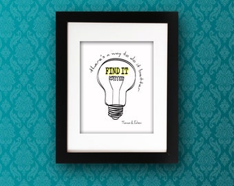 Thomas Edison Quote PRINTABLE DOWNLOAD Wall Art Light Bulb Black White Digital Instant Poster Print Typography Inspirational Motivational