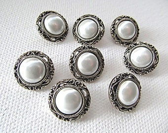 8 White Pearl Buttons Silver Tone Metal 5/8inch 16mm