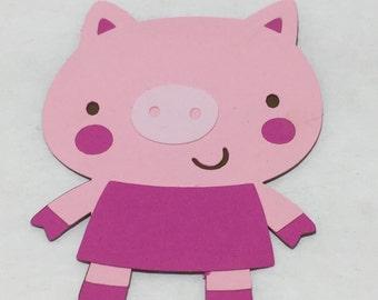6 Cricut Die Cut Pink Pig Embellishments