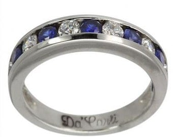 Blue Sapphire And Diamond Wedding Band Channel Set In 14K White Gold