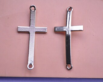 Gold Cross Connectors, Curved Cross Charms, Sideways Cross, 46x21mm,20pcs