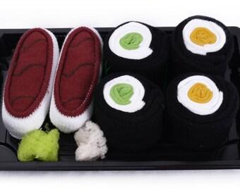 Sushi Socks Box 3 pairs Tuna Cucumber Maki Oshinko Maki Cool Gift Present Gadget
