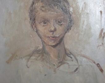 Impressionist portrait vintage oil painting