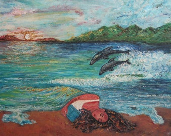 Expressionist seascape dolphins oil painting signed