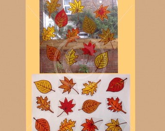 Leaf, Leaves, autumn fall window cling set of 12, hand painted decorative clings for glass & mirror surfaces, static cling, decal