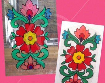 Flower, floral window cling design, decoration hand painted for glass & mirror surfaces, reusable static cling faux stained glass decal