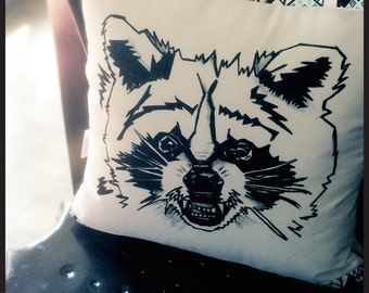Raccoon pillow 16''x16'' hand painted