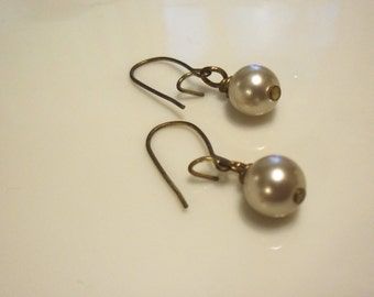taupe glass pearl drop earrings