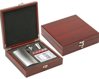 Flask and Card Gift Set in Rosewood Box