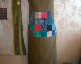 Patchwork pocket apron, long length 40''