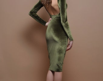 Khaki Velvet Mini Bodycon Open Back Dress Long Sleeves