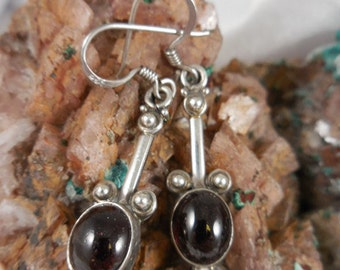 Garnet and Sterling Wired Earrings
