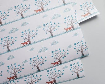 Fox Gift Wrap, Gift Wrap Paper, Designer Wrapping Paper