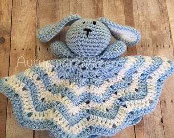 Blue Crochet Bunny Lovey, Blue Lovey, Crochet Lovey,  Blue Crochet Lovey, Stuffed Animal, lovey, Blue Bunny Lovey, Crochet Bunny Lovey,