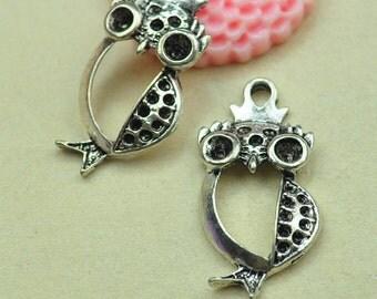 20pcs antique silver hollow owl charm pendants 16x35mm