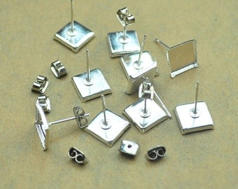 Silver Plated earring posts,100pcs(50pairs) earring studs with 8x8mm square pad,cameo cabochon base setting