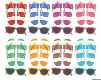 Flip Flops Clipart, Sun Glasses Clipart, Beach Slippers Clipart, Summer Clipart