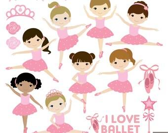 Little Ballerina Digital Clipart, Ballet Clipart, Ballerina Girl