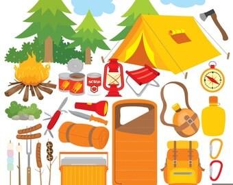 Camping Digital Clipart, Outdoor Clipart , Campfire Clipart, Sleeping Bag Clipart