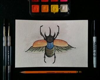 Horned Beetle Watercolor