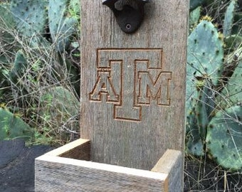 Texas A&M Beer Bottle Opener made from Reclaimed Wood with Carved ATM