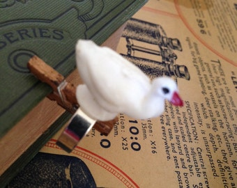 Whimsical White Duck Ring - Adjustable