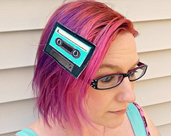 Neon Mixtape Hair Clip/ Headband - Cassette Tape - Personalized