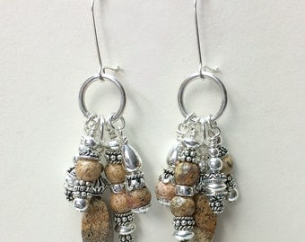 Picture Jasper and Sterling Silver Earrigns