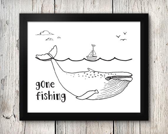 Boy's nursery digital print - Gone Fishing - 8x10 inch - instant download - Nautical, Ocean, Under the sea theme