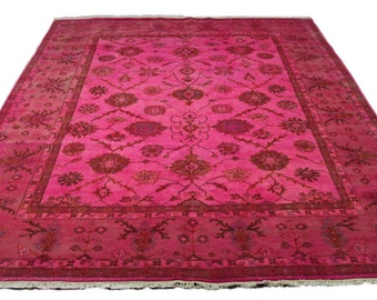 Hot Pink 8×10 Overdyed Sultanabad Wool Rug 2773