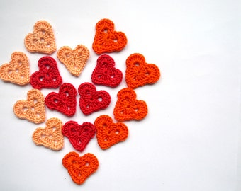 Crochet heart appliques, pink, red,orange decoration,  embellishments, scrapbooking, non allergic /Set of 15/