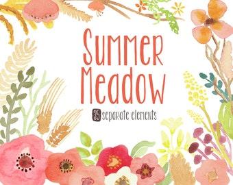 Watercolor Flower Clip Art - Summer Meadow, hand painted elements, digital clipart, wild flowers,