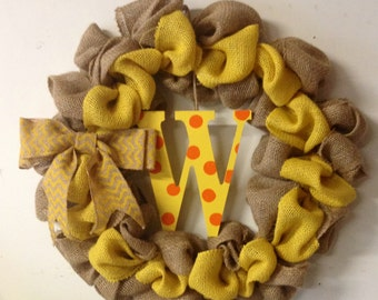 Yellow burlap wreath with letter of choice