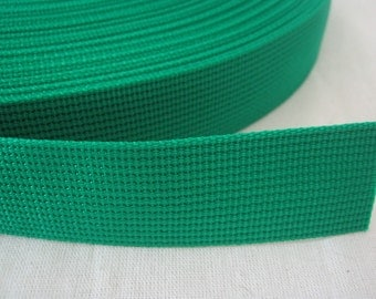 5 Yards, 1 inch (2.5 cm.), Polypropylene Webbing, Green, Key Fobs, Bag Straps, Purses Straps, Belts, Tote Bag Handle.
