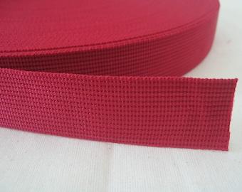 5 Yards, 1.25 inch (3.2 cm.), Polypropylene Webbing, Burgundy, Key Fobs, Bag Straps, Purses Straps, Belts, Tote Bag Handle.