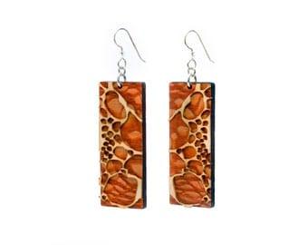 Wood Earrings - Circle Blocks