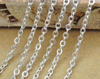Silver Chain,32ft(10meters) Silver plated Brass round cable chain 2X2.5mm,Flat Cable Chain