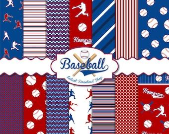 Baseball Digital Paper Pack, Scrapbook Papers, 14 JPG Files 12 x 12 - Instant Download