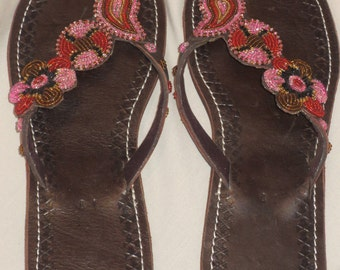 Handmade leather and bead Maasai sandals, one of design,  size 41/8/26cms.