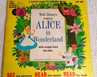 "Walt Disney's ""Story Of Alice in Wonderland"" Vintage Book & 7"" Record 1965 33 RPM VG+"