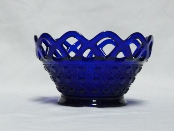Imperial Glass Co Cobalt Blue Lace Edge 7456 Basket Bowl Aka