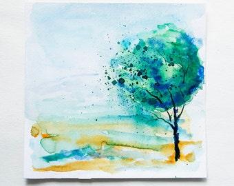 ORIGINAL painting tree painting Watercolor tree painting Watercolor Landscape painting Happy tree painting Original artwork wall decor