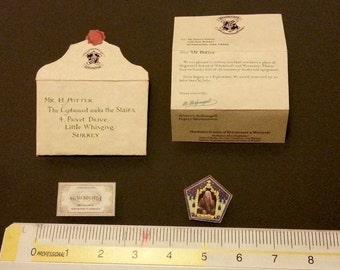 Platform 9 3/4 Harry Potter letter ticket choc frog cards 1/6 Diorama albus accessories