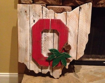 Wooden Ohio State Sign