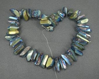 15.5inch Crystal Point Drilled Titanium AB Quartz 1 holes per bead 10-15*25-35mm