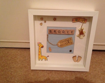 Personalised New Baby Scrabble Art