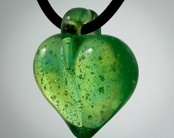 Kiln Cast Crystal Green Heart Pendant on 16 inch rubber cord with sterling silver clasp