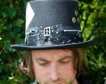 One Of A Kind Steampunk Goth Victorian Futuristic Card Shark Fastener Top Hat With Octopus Charm