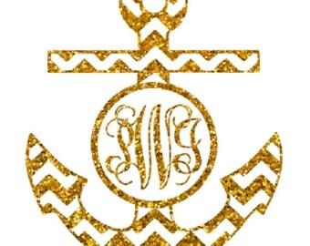 glitter vine font chevron anchor monogram , heat transfer iron on , custom iron on , glitter initials , personalized iron on ,chevron anchor